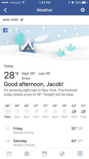 Email x1 facebook weather section