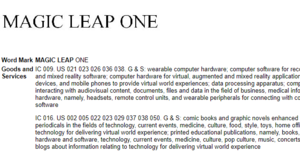 Email x1 magic leap one trademark