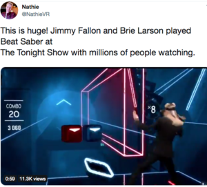 Brie Larson and Jimmy Fallon Play Beat Saber VR / Caring